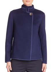 Lafayette 148 New York Two Tone Double Face Branson Wool And Cashmere Jacket Galaxy Blue
