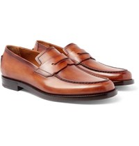 Berluti Gianni Burnished Leather Penny Loafers Tan