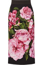 Dolce And Gabbana Floral Print Crepe Pencil Skirt Pink