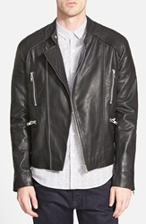 Topman Black Leather Collarless Biker Jacket Nordstrom Online Exclusive