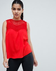 Ax Paris Top With Lace Detail Red