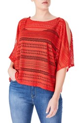 Elvi Plus Size Women's Lace Cold Shoulder Top Red