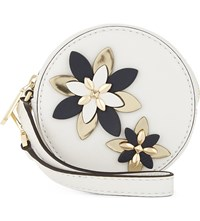 Michael Michael Kors Flower Leather Pouch Optic White