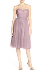Women's Jenny Yoo 'Maia' Convertible Tulle Tea Length Fit And Flare Dress Sweet Pea