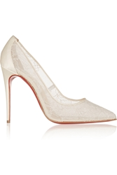 Christian Louboutin Follies 100 Lace And Satin Pumps