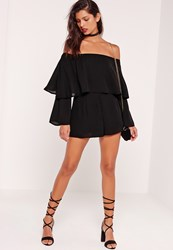 Missguided Double Layer Bardot Playsuit Black