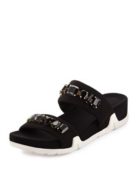 Ash Oman Jeweled Slide Sandal Black