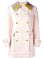 Altuzarra Sequin Embellished Collar Coat Pink And Purple
