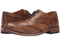 Bed Stu Corsico Tan Driftwood Leather Men's Lace Up Wing Tip Shoes Brown