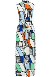 Novis Woman The Barrington Belted Printed Washed Silk Maxi Shirt Dress Multicolor