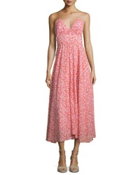 Rebecca Taylor Sleeveless Floral Silk Midi Dress Red Red Combo