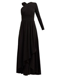 Givenchy Asymmetric Ruched Crepe Jersey Gown Black