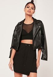 Missguided Black Loopback Wrap Front Tie Waist Mini Skirt