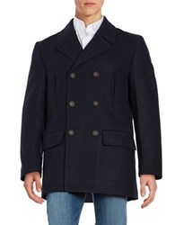 Lauren Ralph Lauren Double Breasted Wool Blend Coat Navy