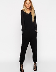 Asos Casual Jumpsuit With Sheer Panel Black