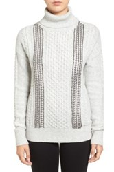 Halogen Embellished Cable Knit Turtleneck Sweater Regular And Petite Gray