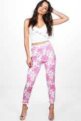 Boohoo Pink Floral Stretch Skinny Trousers Pink