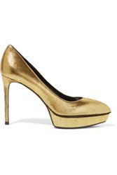 Saint Laurent Janis Metallic Lizard Effect Leather Pumps Gold
