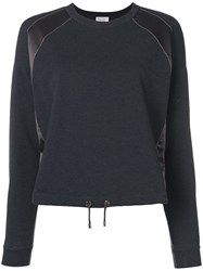 Brunello Cucinelli Jersey Sweater With Satin Panel Grey