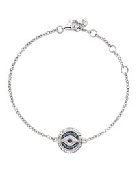 Judith Ripka Sterling Silver Evil Eye Charm Bracelet With White Black And Blue Sapphire Blue Silver