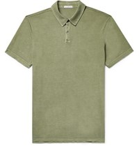 James Perse Supima Cotton Jersey Polo Shirt Sage Green