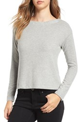 Obey Women's 'Sarra' Long Sleeve Boat Neck Tee Heather Grey