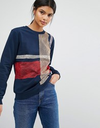 Sportmax Code Fida Check Sweatshirt 001 Midnight Blue