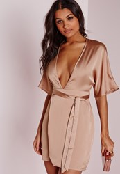 Missguided Silky Kimono Wrap Dress Dusky Pink Pink