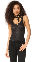 Free People Piece Dye Pucker Lace Tank Black