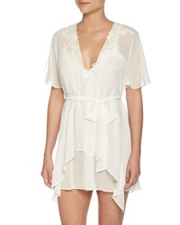 Jonquil Embroidered Lace Chiffon Wrap Robe Ivory Women's