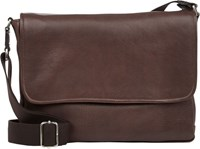Barneys New York Front Flap Medium Messenger Bag Brown