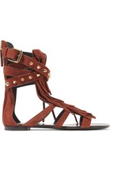 Giuseppe Zanotti Fringed Studded Suede Sandals Chocolate