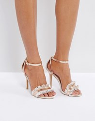 True Decadence Frill Rose Gold Barely There Heeled Sandals Rose Gold