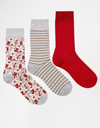 Asos 3 Pack Socks With Ditsy Print Multi
