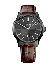 Hugo Boss Mens Architecture Black Watch With Leather Strap Brown