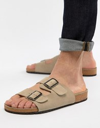 Asos Design Sandals In Stone With Buckle