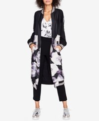 Rachel Roy Floral Print Duster Bomber Jacket Created For Macy's Black Dusty Pink