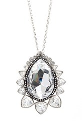 Women's St. John Collection Swarovski Crystal Pendant Necklace Rhod Crystal Shade Jet
