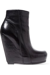 Rick Owens Glossed Leather Wedge Ankle Boots Black