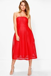 Boohoo Panelled Midi Full Skirt Skater Dress Red