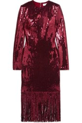 Rebecca Vallance Matisse Fringed Sequinned Crepe Midi Dress Burgundy