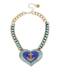 Betsey Johnson Anchors Away Paved Heart Pendant Necklace Blue
