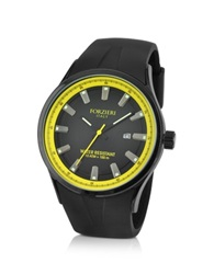 Forzieri Black Rubber Strap Date Watch Yellow