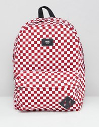 Vans Red Checkerboard Backpack Red White Check