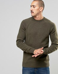 Barbour Jumper In Lambswool In Green Olive