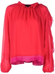 Cynthia Rowley Ruffle Trimmed Blouse Red