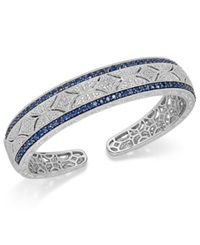Macy's Sapphire 2 3 8 Ct. T.W. And Diamond 1 10 Ct. T.W. Antique Cuff Bracelet In Sterling Silver Blue