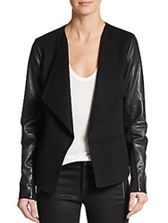 Vince Leather Sleeve Boiled Wool Jacket Black