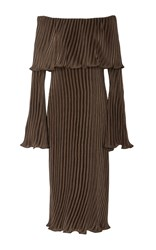 Beaufille Andura Pleated Off The Shoulder Dress Brown