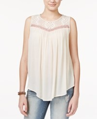Jolt Juniors' Lace Trim Tank Top Heather Oatmeal